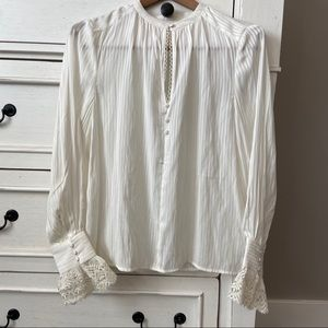 Bohme Off White Blouse with Lace Cuffs. Size Small